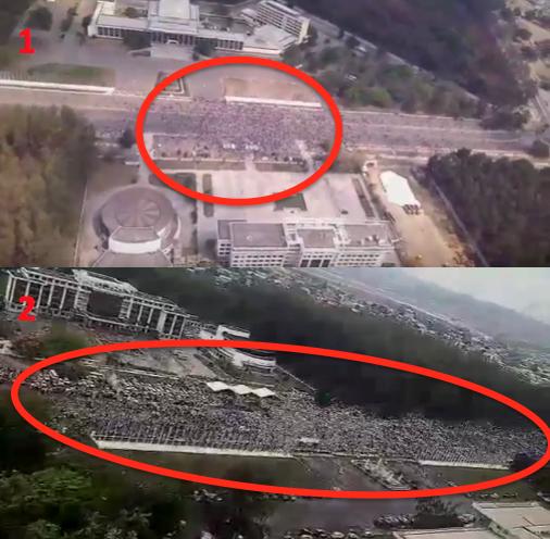 En haut, une poignée de partisans du Non défilent le 27 septembre à Brazzaville. En bas, au même endroit, le 10 octobre, ce sont entre 100 et 150 mille sympathisants du Oui qui ont envahi les rues de la capitale congolaise.
